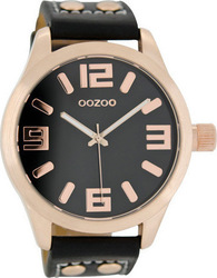 Oozoo 45mm Unisex Black Leather Strap C1159