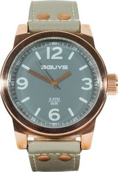 3Guys Rose Gold Grey Leather Strap 3G13917