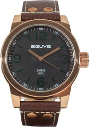 3Guys Rose Gold Brown Leather Strap 3G13906