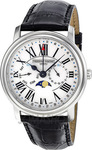 Frederique Constant Business Timer Multifunction Black Leather Strap FC-270M4P6