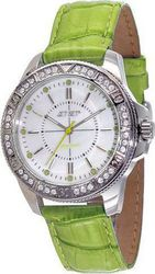 JetSet Amsterdam Crystals Green Leather Strap J50974-134