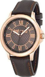 Just Cavalli Iron Gold Brown Leather Strap R7251596001
