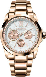 Jacques Farel Multifunction Rose Gold Stainless Steel Bracelet AOL2555