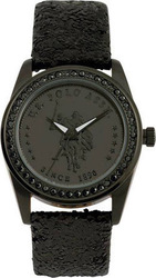 U.S. Polo Assn. U.s. Crystals Black Leather Strap USP5222BK