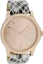 Oozoo Timepieces Rose Gold Animal Print Leather Strap C6647