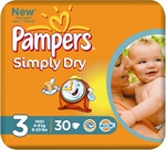 Pampers Simply Dry No 3 (4-9Kg) 30τμχ