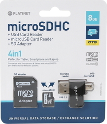Platinet microSDHC 8GB Class 10 with Adapter & OTG Card Reader