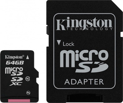 Kingston microSDXC 64GB Class 10 with Adapter (90MB/s)