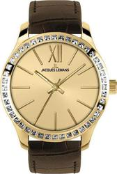 Jacques Lemans ρολόι Rome Crystal Gold Brown Leather Strap 1-1841C