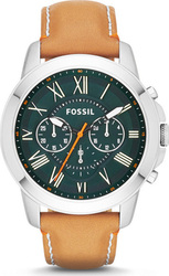 Fossil Grant Tan Chronograph Leather Watch FS4918