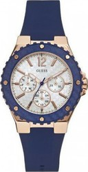 Guess Multifunction Rose Gold Blue Rubber Strap W0149L5