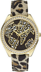 Guess Crystal Wonderland Animal Print Leather Strap W0504L2