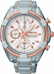Seiko Velatura Ladies Chronograph Two Tone Rose Gold Stainless Steel Bracelet SNDW58P1