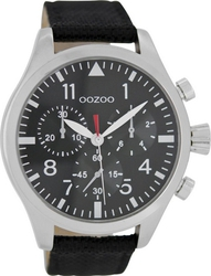 Oozoo Timepieces XL Black Leather Strap C6799