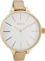 Oozoo XL Timepieces Slim Beige Leather Strap C6842