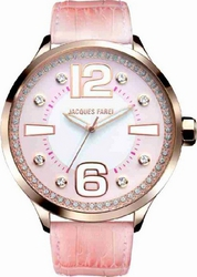 Jacques Farel Crystals Pink Leather Strap FIG334