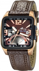 Lotus Vulcano Multifunction Rose Gold Brown Leather Strap L15531-2