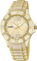 Calypso Crystals Ladies Gold Rubber Strap 5650/8