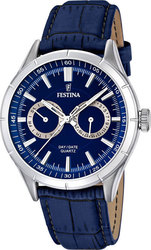 Festina Multifunction Blue Leather Strap F16781/3