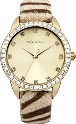 Morgan De Toi Crystals Animal Prin Leather Strap M1210TG
