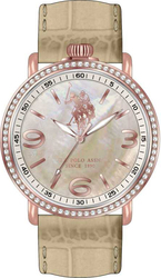 U.S. Polo Assn. Crystal Ladies Rose Gold Beige Leather Strap USP5229IV