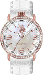 U.S. Polo Assn. Crystal Ladies Rose Gold White Leather Strap USP5226RG