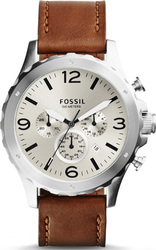 Fossil Men's Nate Chronograph Leather Watch Brown JR1473