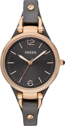Fossil Georgia Rose Gold Anthracite Leather Strap ES3077