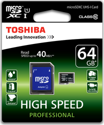 Toshiba Professional microSDXC 64GB Class 10 with Adapter 6A