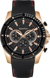 Quantum Adrenaline Rose Gold Black Leather Chronograph ADG445.851