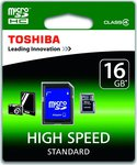 Toshiba microSDHC 16GB Class 4 Standard with Adapter