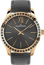 Jacques Lemans Rome Crystal Rose Gold Dark Grey Leather Strap 1-1841S