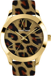 Jacques Lemans Rome Gold Animal Print Leather Strap 1-1840Z