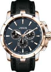 Venus Genesis Rose Gold Black Leather Chronograph VE-1311A6-37-L2