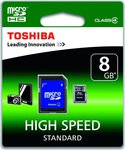 Toshiba microSDHC 8GB Class 4 HS Standard with Adapter