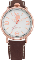 U.S. Polo Assn. Classic Rose Gold Brown Leather Strap USP4249RG