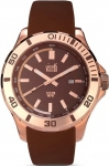 Visetti Clyde Three Hands Rose Gold Stainless Steel Rubber Strap LZ-WSW659RK