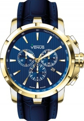 Venus Genesis Gold Blue Leather Chronograph VE-1311A7-38-L12