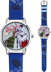 Elle Girl Stainless Steel Blue Leather Strap GW40011P02X
