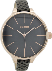 Oozoo Timepieces Slim Grey Leather Strap C6963