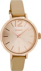 Oozoo Timepieces Ladies Rose Gold Beige Leather Strap C7221