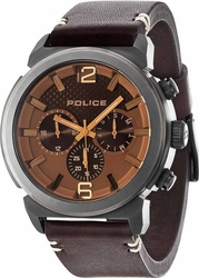 Police Brown Leather Strap PL14377JSU-12