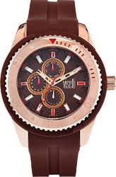 Visetti Cruiser Men's Rose Gold Brown Silicone Strap ZE-666RK