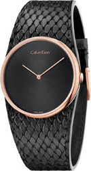 Calvin Klein Rose Gold Black Leather Strap K5V236C1