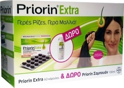 Bayer Priorin Extra 60 κάψουλες + Σαμπουάν Priorin για Κανονικά/ Ξηρά Μαλλιά 100ml