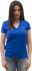 LACOSTE V-NECK T-SHIRT IN SOFT JERSEY DELTA BLUE