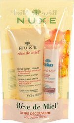 Nuxe Reve De Miel Hand & Nail Cream 30ml & Lip Moisturizing Stick 4gr