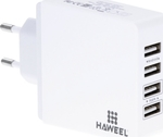 Haweel 4x USB Wall Adapter Λευκό (HWL-3301W)