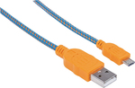 Manhattan Braided USB 2.0 to micro USB Cable Πορτοκαλί 1m (352734)