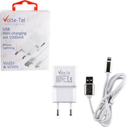 Volte-Tel USB Wall Adapter & Cable for Apple Λευκό (VCD05+VLU15)